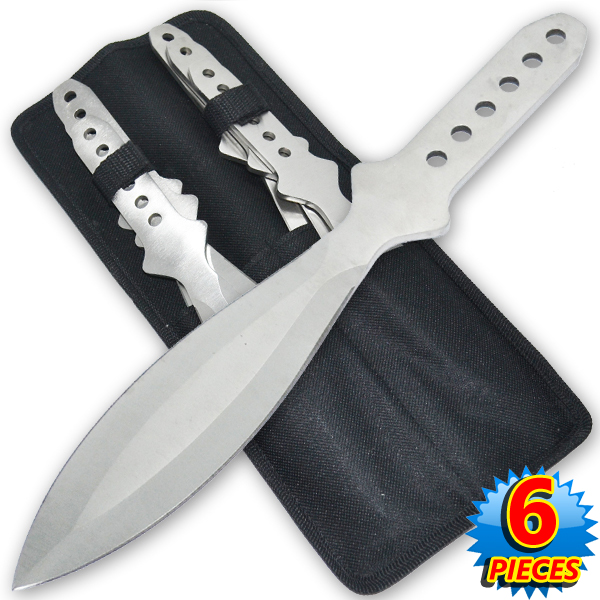 6.5 Inch 4 Oz Silver Tiger Thrower Throwing Knives (Set of 6)