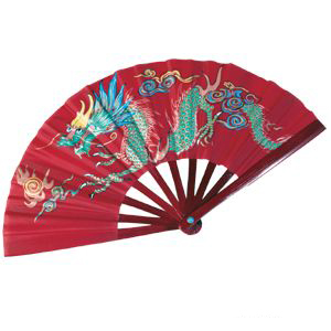 Bamboo Dragon Fighting Fan, 10 inches, Red
