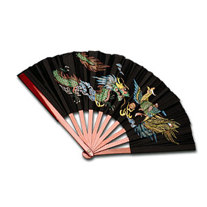 Bamboo Fighting Fan with Dragon and Phoenix Design