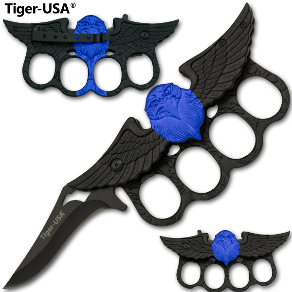 Black and Blue Eagle Spring Assisted Knuckle Knife