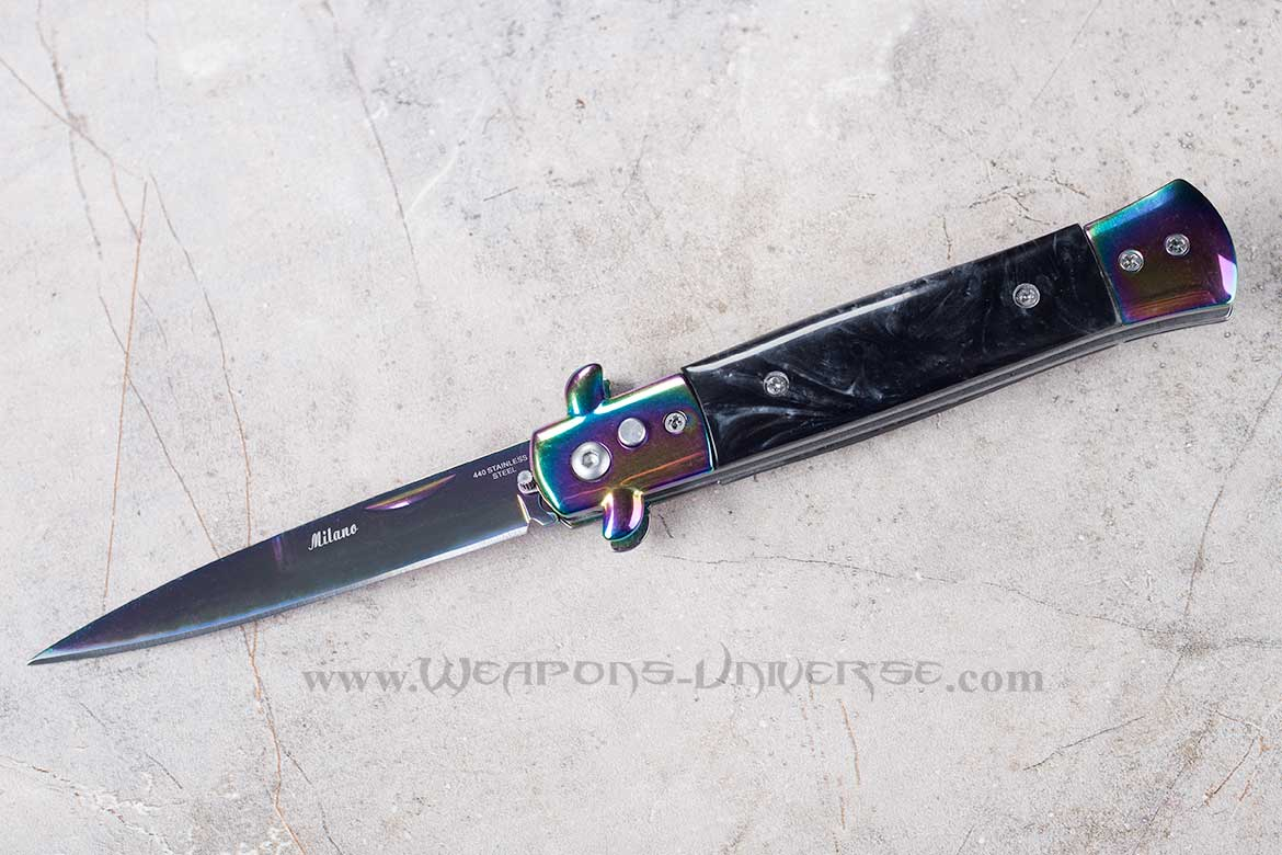 Black Marble Deluxe Titanium Switchblade Automatic Knife