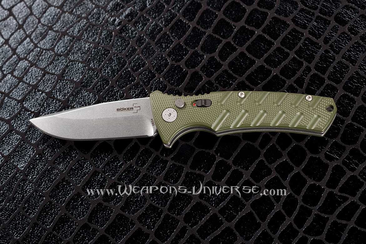 Boker 402N Plus Strike Automatic Knife, Green, Spearpoint