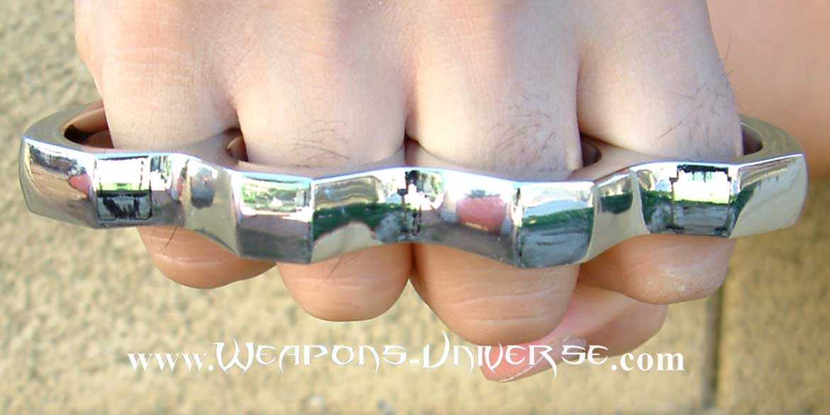 Large Chrome Brass Knuckles