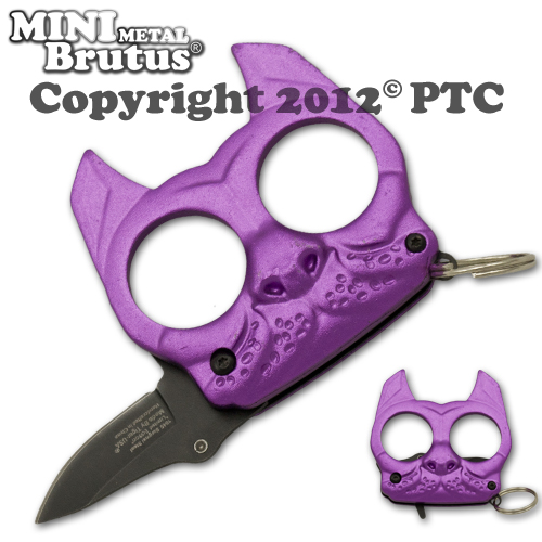 Brutus the Bulldog Defense Keychain and Knife, Purple