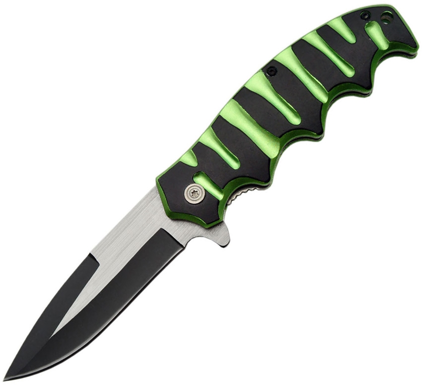 China Made CN300299GN Linerlock A/O Knife, Green, Black