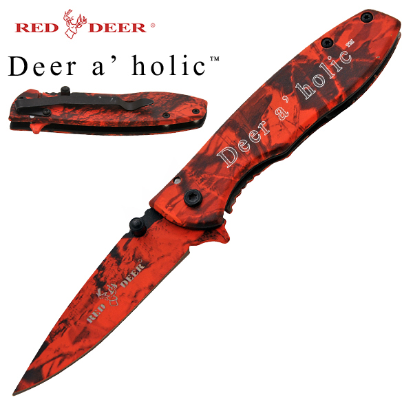 Deer A' Holic Spring Assisted Deer Knife, Red Camo
