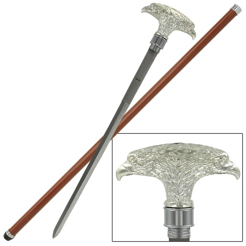 Double American Eagle Walking Sword Cane