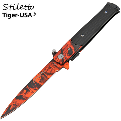 Godfather Stiletto Style Folding Knife w/ Clip, Red