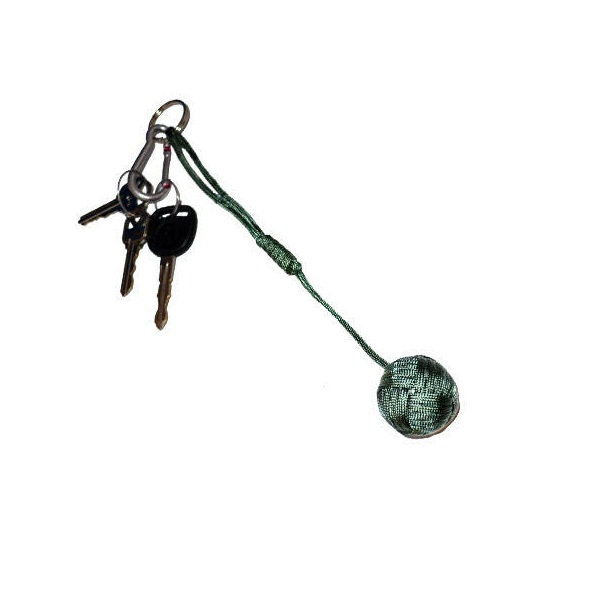 Large Self Defense Monkey Fist Keychain, Foliage