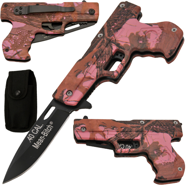 Mean Bitch 8.75 Inch Spring Assisted Gun Pistol Knife