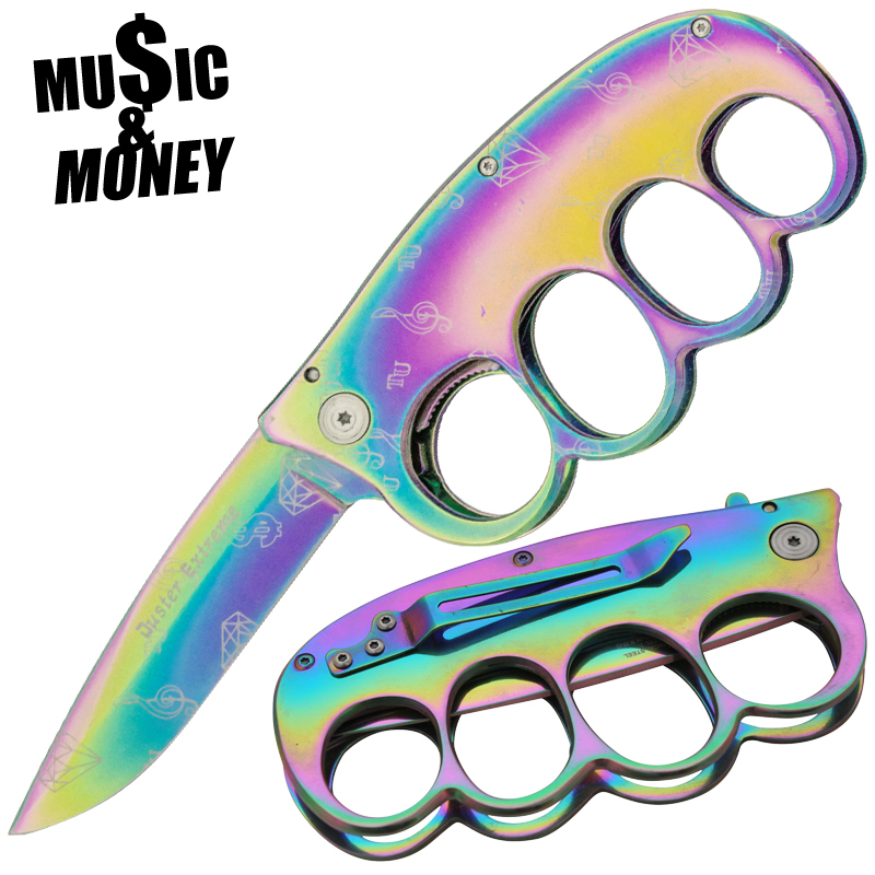 Music and Money Trench Knuckle Knife Duster Extreme, Rainbow
