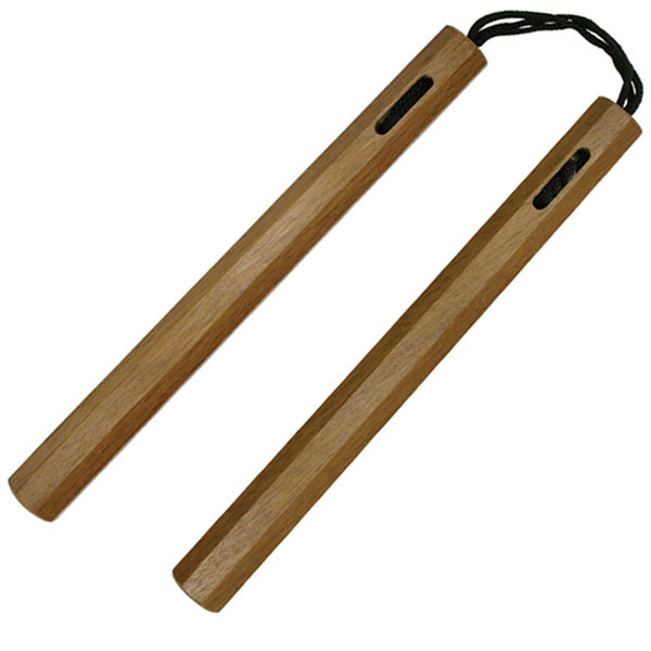 Nunchucks, Octagonal Wood, Brown, Cord, 12 inches