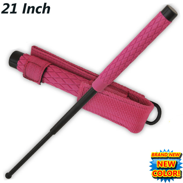 Pink Expandable Baton, Rubber Handle, 21 inches