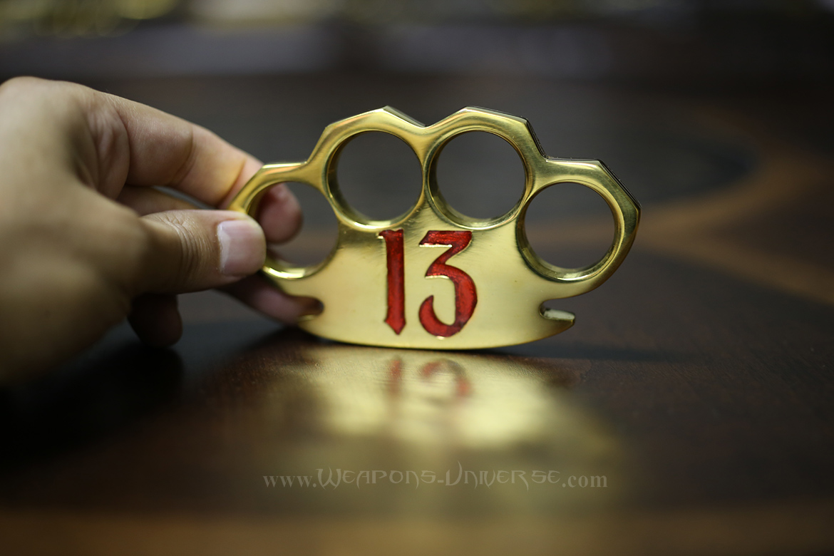 Red Lucky 13 Real Brass Knuckles