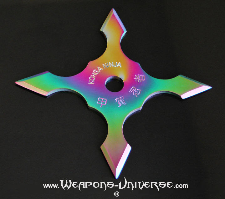 Shiho Shuriken, 4 Pointed, Rainbow, 4 inches
