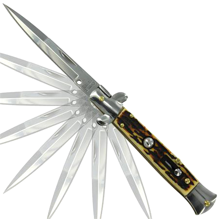 Silver Stag Stiletto Switchblade Auto Knife, Open