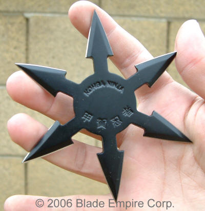 Solid Hexagonal Shuriken, Semi Pro, 4 Pointed, Black, 4 inches