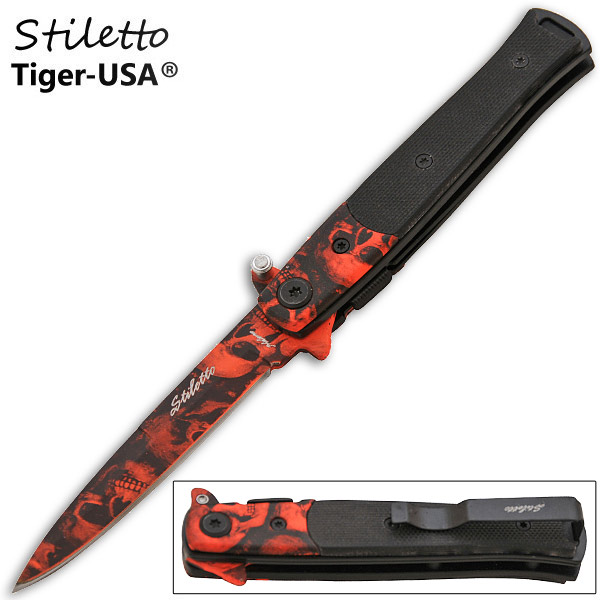 7.75 Inch Z-Slayer Mini Stiletto Knife - Skull Red P-110-SK-RD