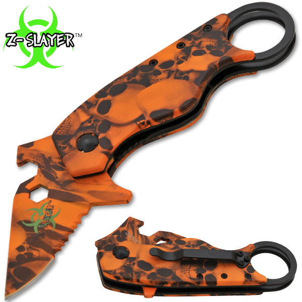 Man Kombat Takedown Tech Trigger Assisted Knives - Undead Orange AL-0082-SK-OR