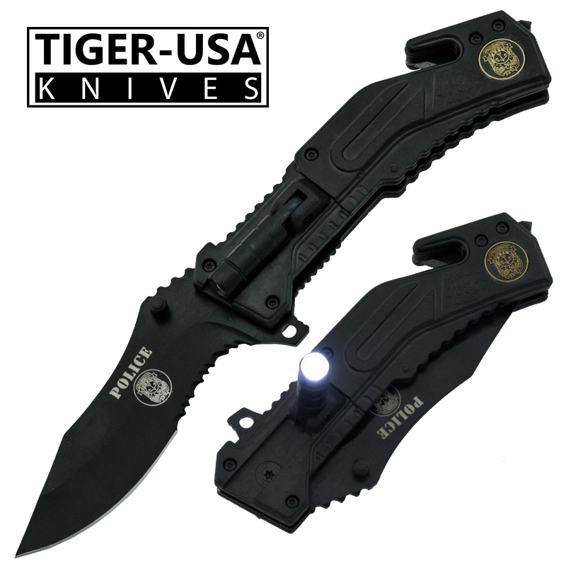 Spring Assisted LED Flash Light Tactical Knife, Black