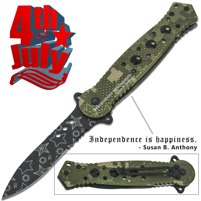 Star Spangled 4th of July Spring Assisted Knife, Camo