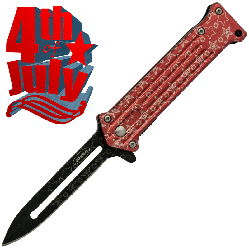 Star Spangled 4th of July Spring Assisted Knife, Red (Serrated)