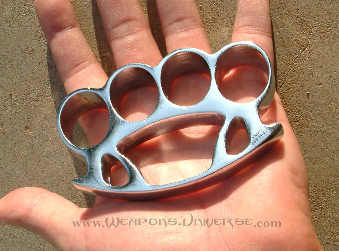 Thug Brass Knuckles, Chrome, Medium