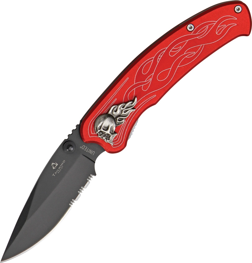 United Cutlery UC2691S Nova Skull Linerlock Red Knife