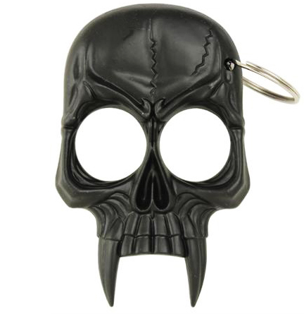 Zombie Skull 2-Finger Knuckle Keychain, Black