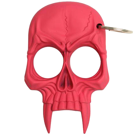 Zombie Skull 2-Finger Knuckle Keychain, Raspberry Pink
