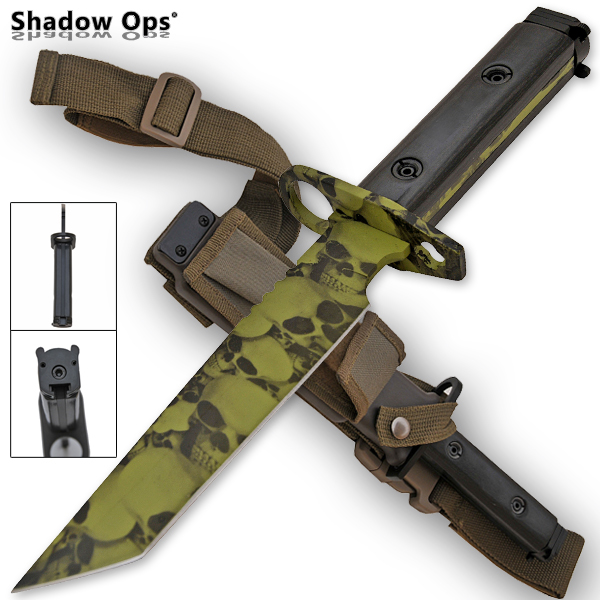 Heavy Duty Shadow Ops Bayonet Undead Skull Knife YF-01-GR