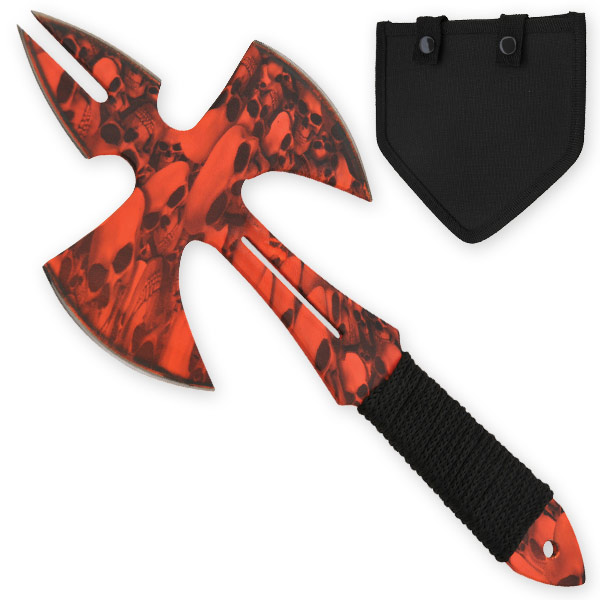 Red Skull Medieval Style Throwing Axe - Comes With Wearable Sheath Z-1031-RD-SK-S