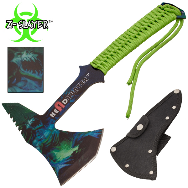 Z-Slayer Headhunter Tomahawk Throwing Axe With Green Paracord CLD204